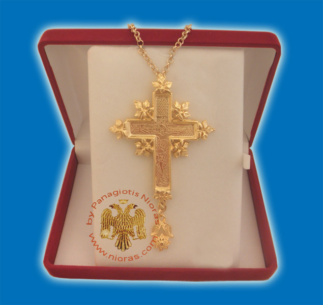Pectoral Cross for Priest Gold Plated Engraved Crucifixion in the Front 5x8cm