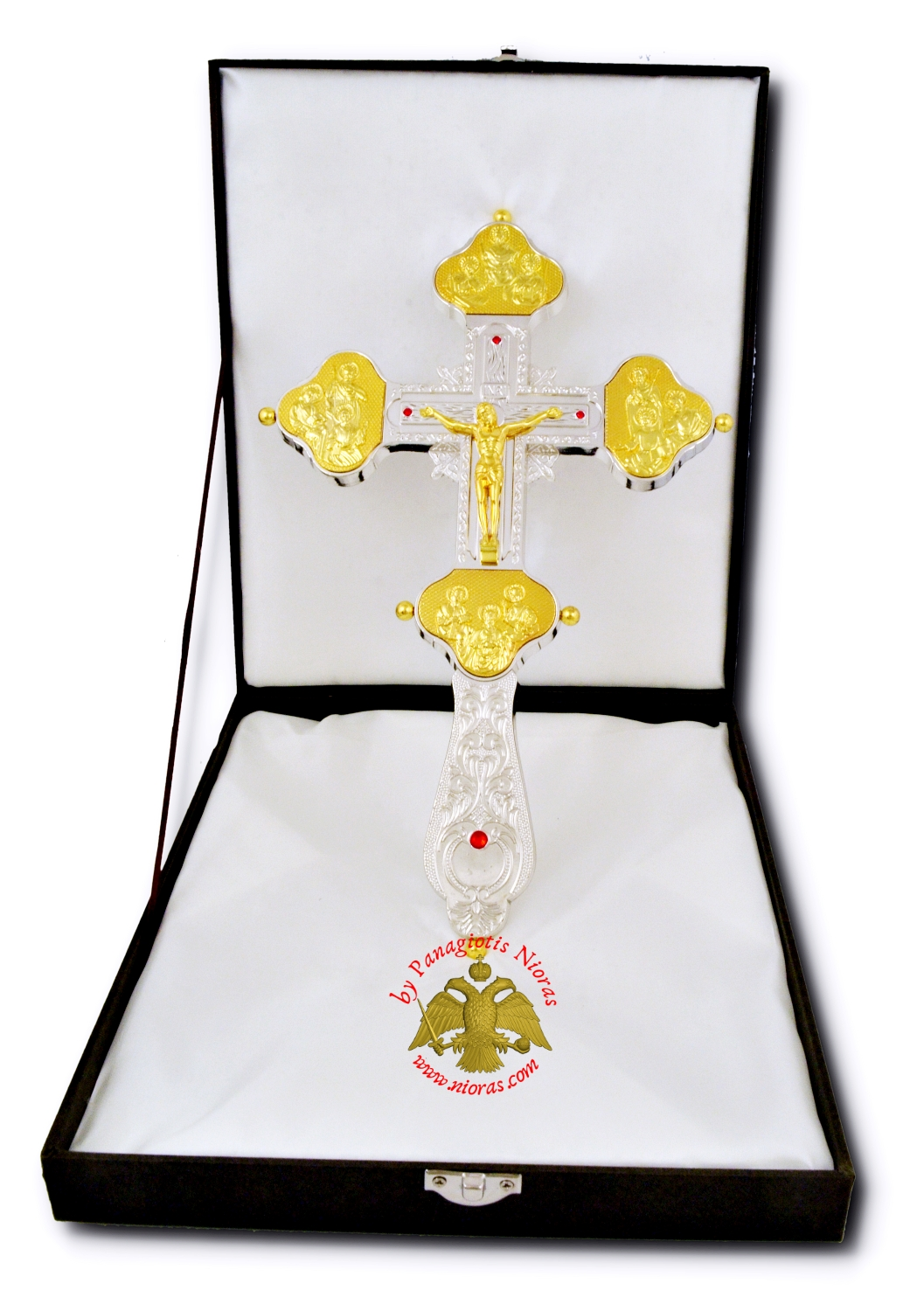 Blessing Orthodox Cross with Crucifixion Gold Plated Detail 28x17cm
