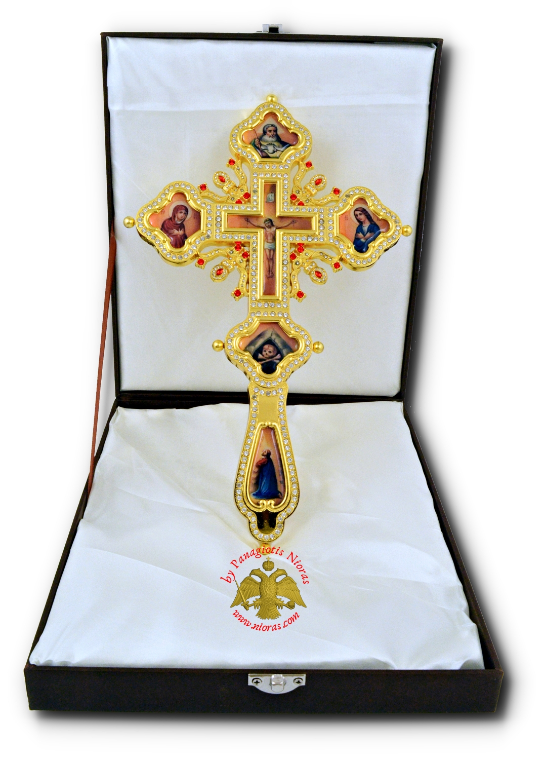 Blessing Orthodox Cross with Crucifixion Soft Enamel Details 28x17cm With Standing Base