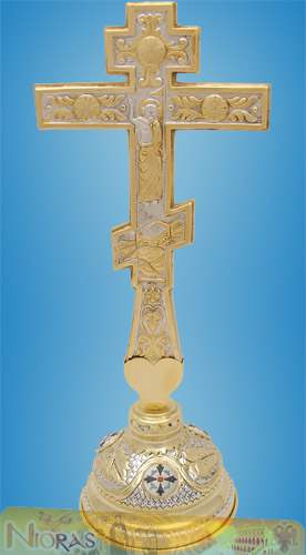 Blessing Cross Double Sided Russian Style with Base Stand