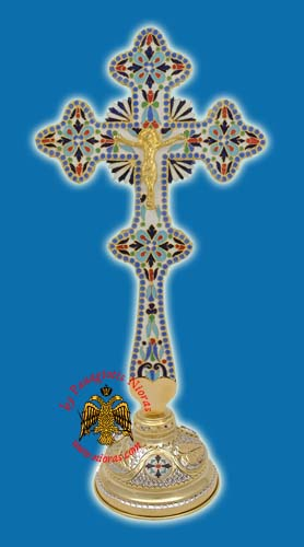 Blessing Cross Gold Plated Enamel with Standing Base