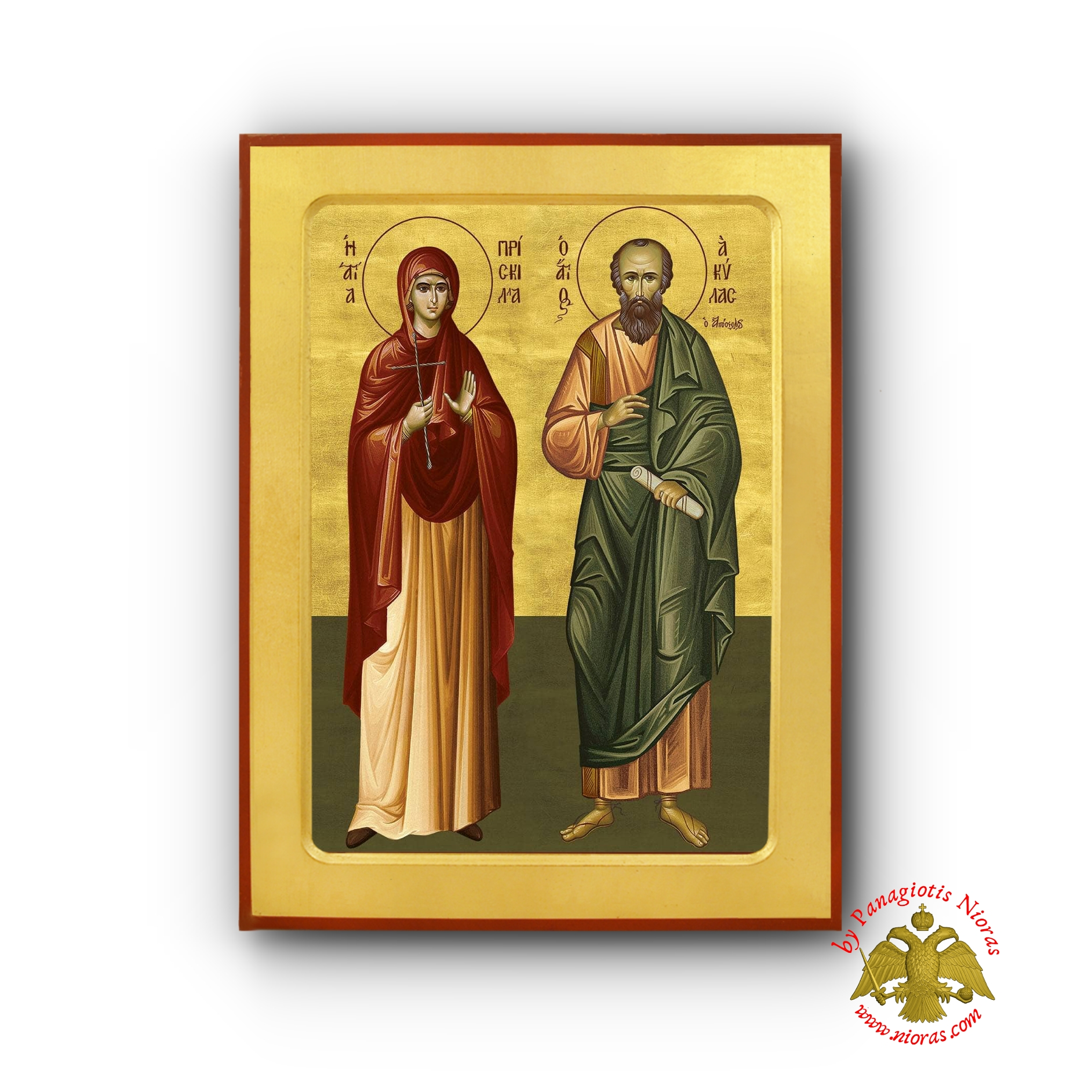 Saints Apostle Aquila and Priscilla Byzantine Wooden Icon