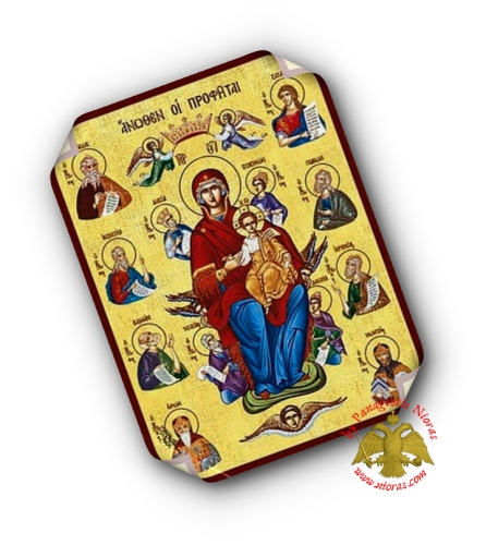 Laminated Byzantine Icon Entrhoned with Prophets