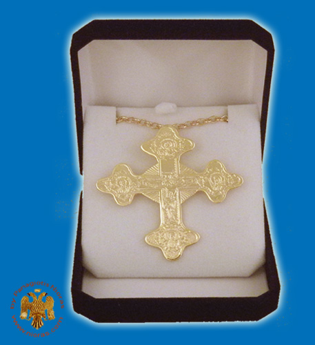 Pectoral Engraved Cross Gold Plated Byzantine Style 5x8cm