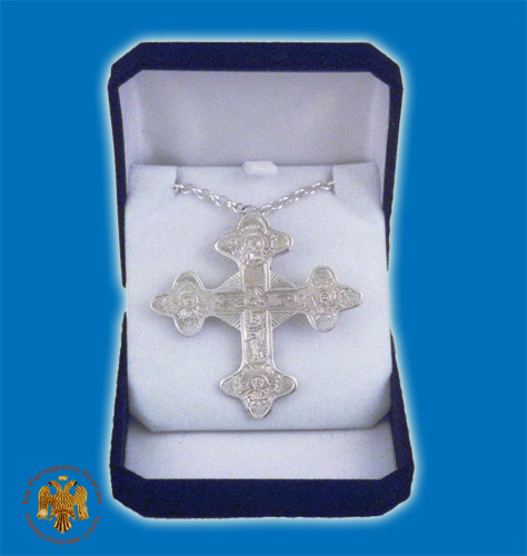 Pectoral Engraved Cross Silver Plated Byzantine Style 5x6.5cm
