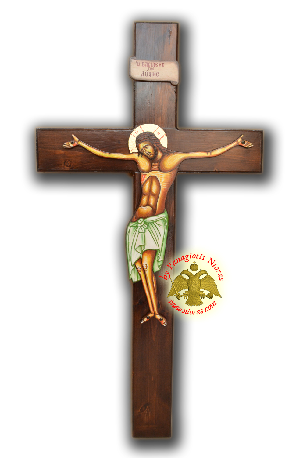 Hand Painted Wooden Cross for Holy Table Natural Coloured 95x50cm offered with Removable Standing Wooden Base