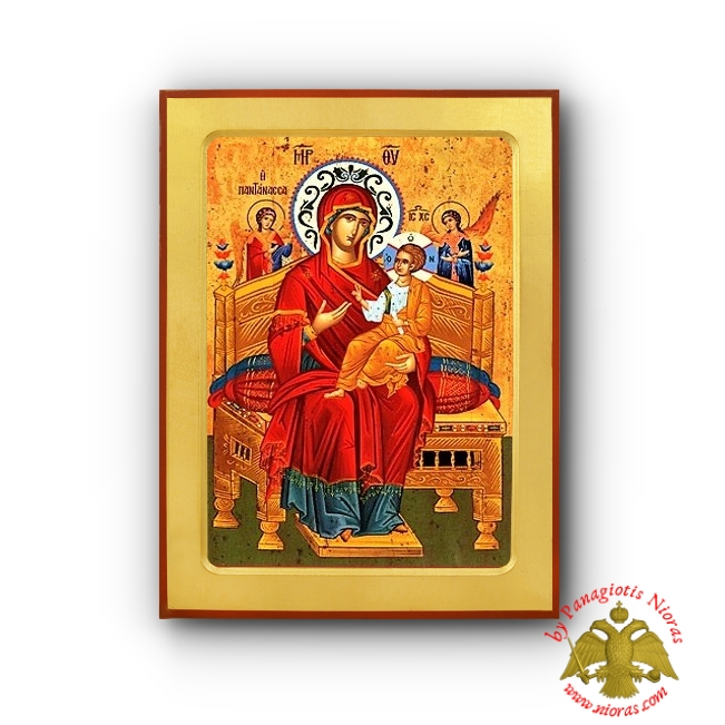Holy Virgin Mary Queen of the Universe Pantanassa Byzantine Wooden Icon - Holy Monastery Vatopedi