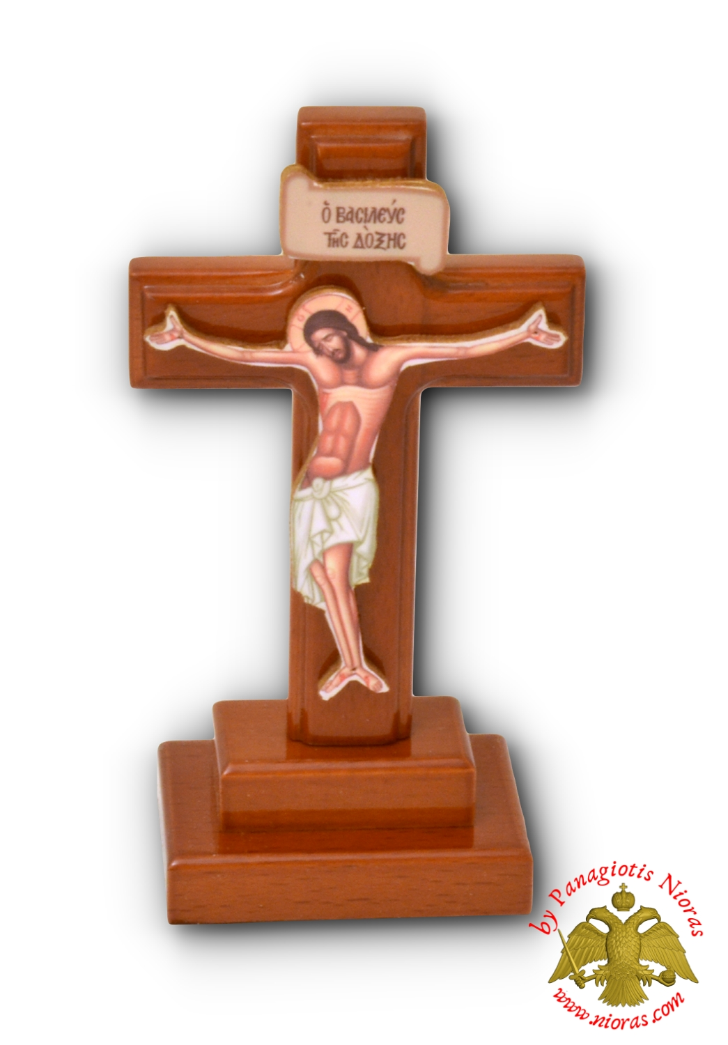 Wooden Cross With Base 6x9cm Cherry Brown Polished