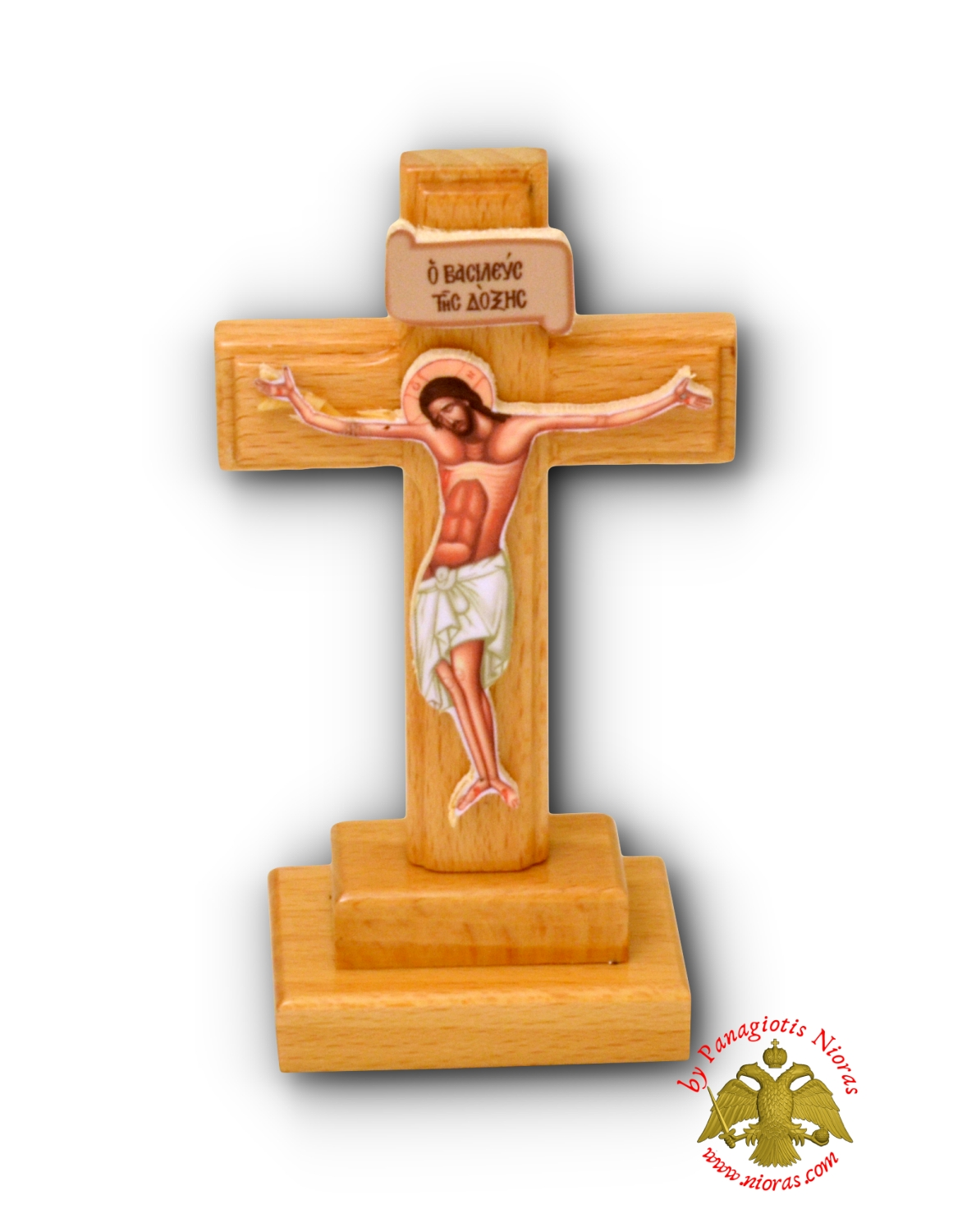 Wooden Cross With Base 6x9cm Natural