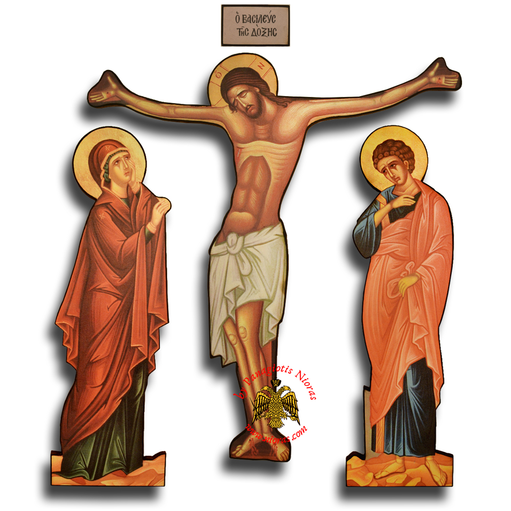 Orthodox Canvas Icon Jesus Christ Corpus with Holy Theotokos and Saint John figures molded on Wood Set H: 130cm