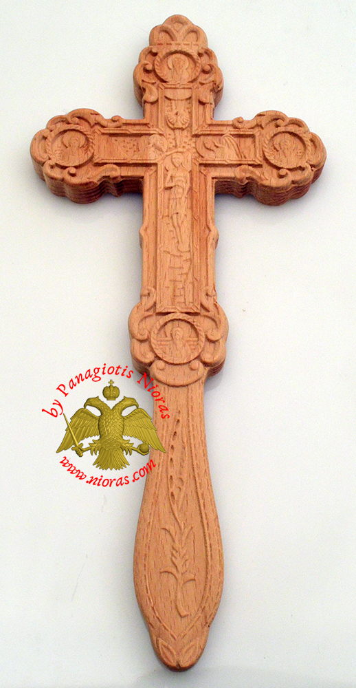 Blessing Orthodox Wood Carved Byzantine Cross With Apostles Double Sided 8x18cm
