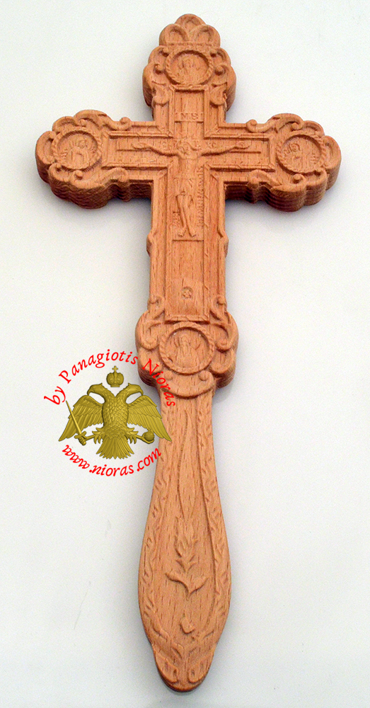 Blessing Orthodox Wood Carved Byzantine Cross With Apostles Double Sided 12x26cm