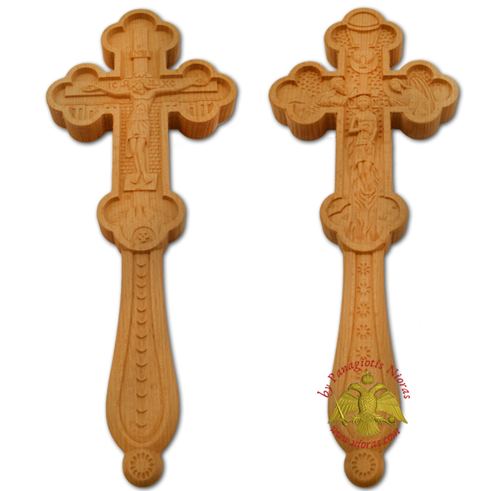 Blessing Orthodox Wood Carved Byzantine Hand Made Cross Double Sided 18x7x1.5cm