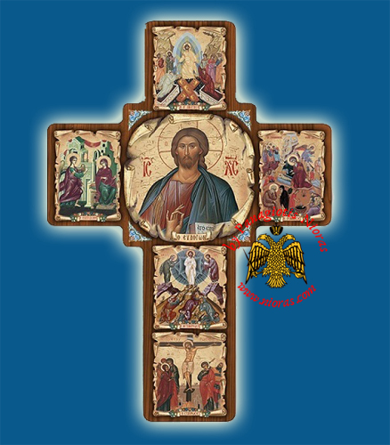 Cross Byzantine Paper On Wood with Center Icon of Christ 14x20cm