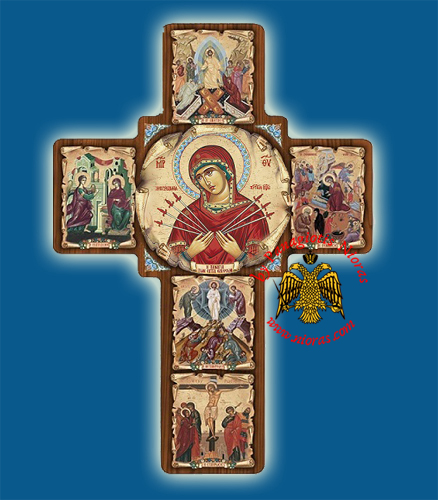 Cross Byzantine Paper On Wood with Center Icon of Holy Virgin Mary 14x20cm