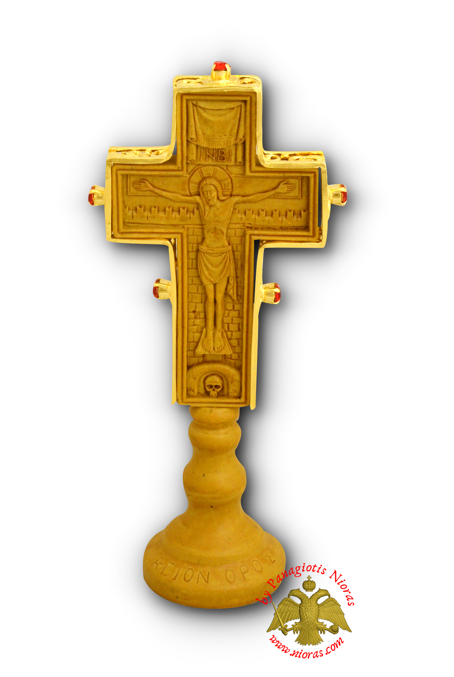 Wooden Orthodox Cross Double Sided With Base Baptism and Crucifixion With Metal Decorations 7x21cm