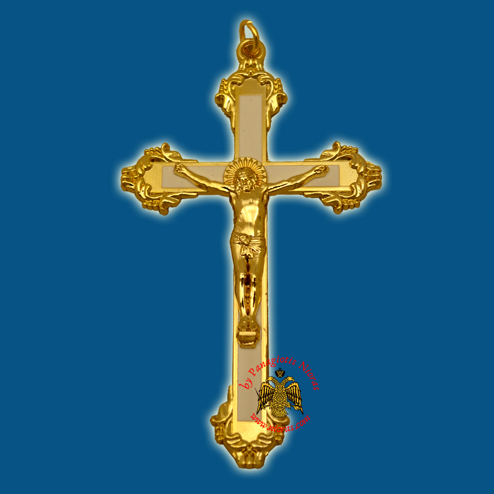 Orthodox Metal Hanging Cross with White Profile 11x6.5cm Gold Plated