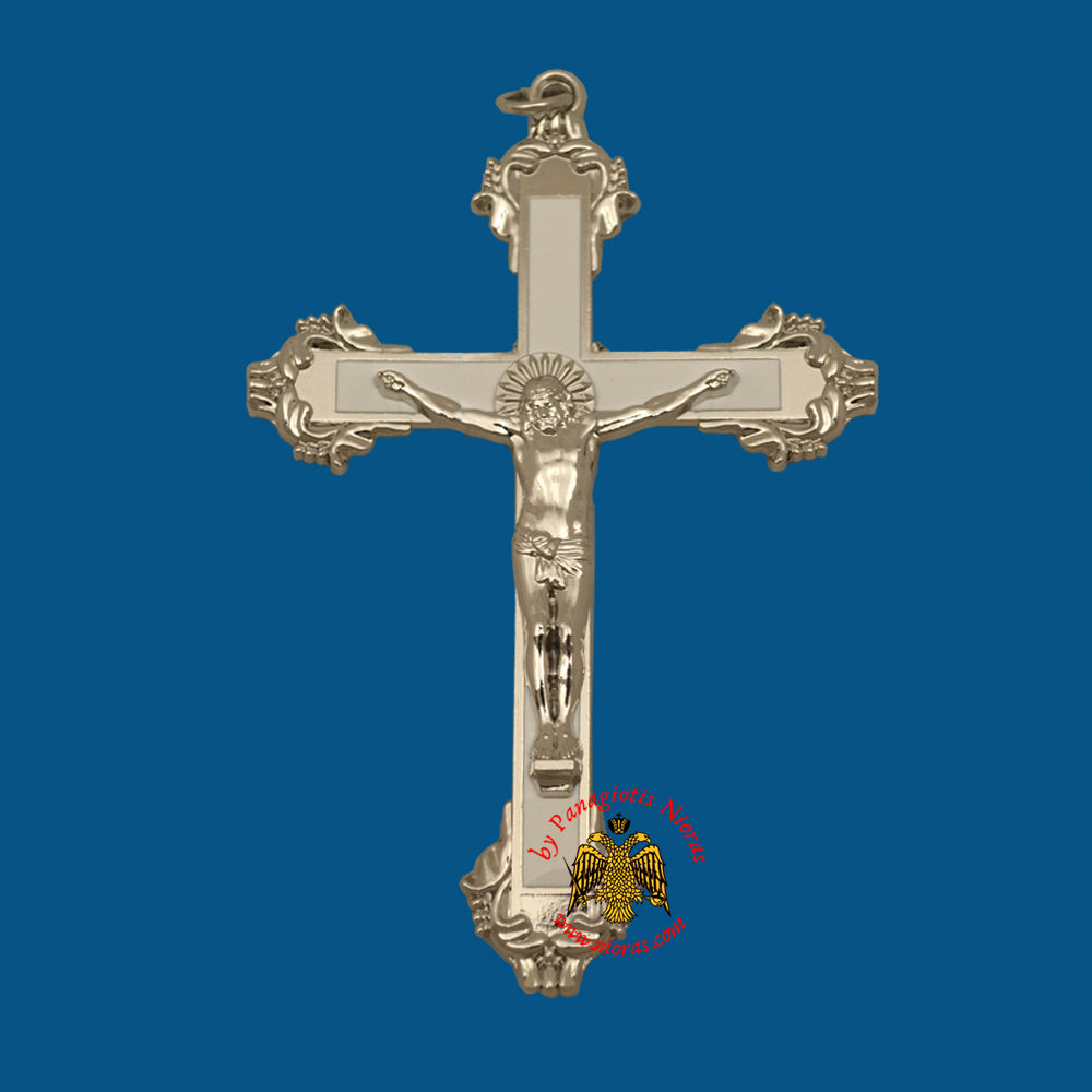 Orthodox Metal Hanging Cross with White Profile 11x6.5cm Silver Plated