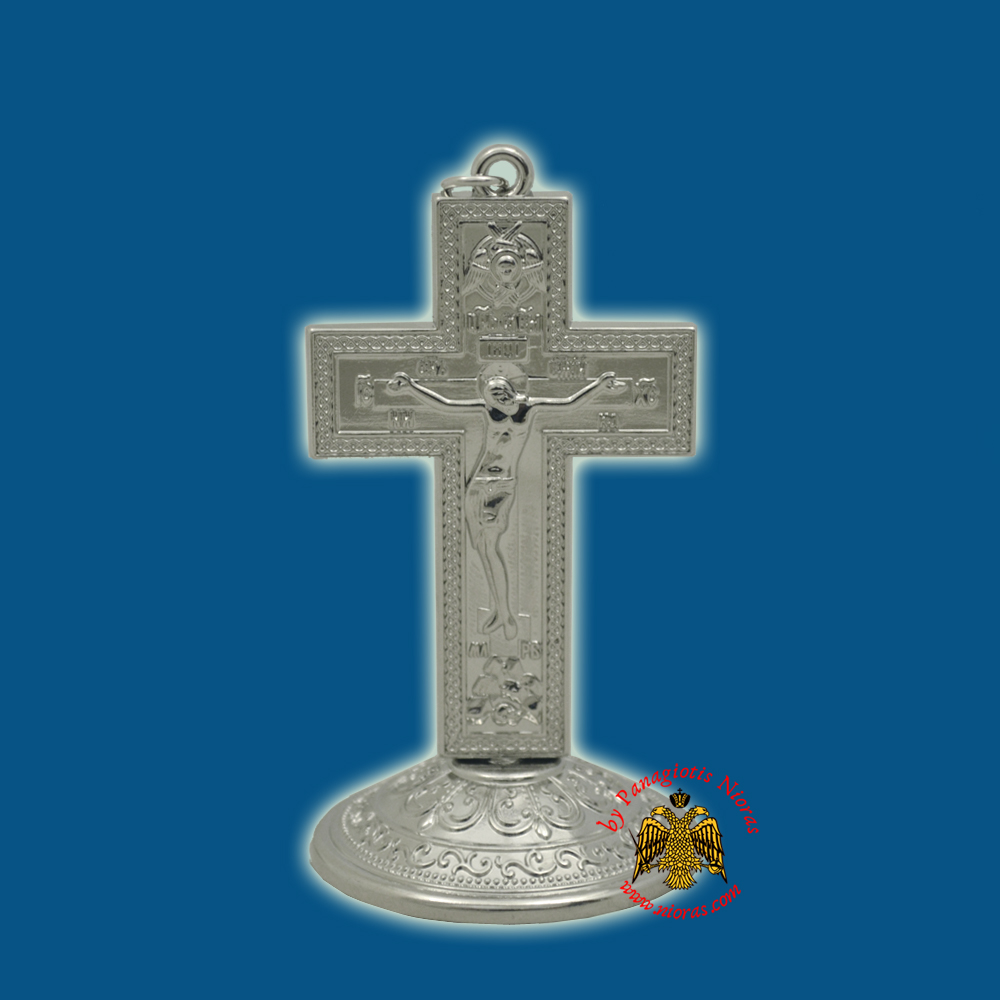 Metal Orthodox Small Cross with Base Silver Plated 9x5cm