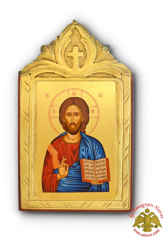 Byzantine Jesus Christ Icon on Carved Wood with Cross