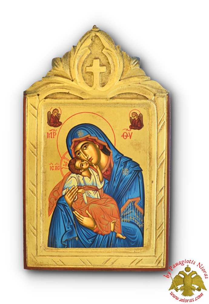 Byzantine Theotokos Icon on Carved Wood with Cross