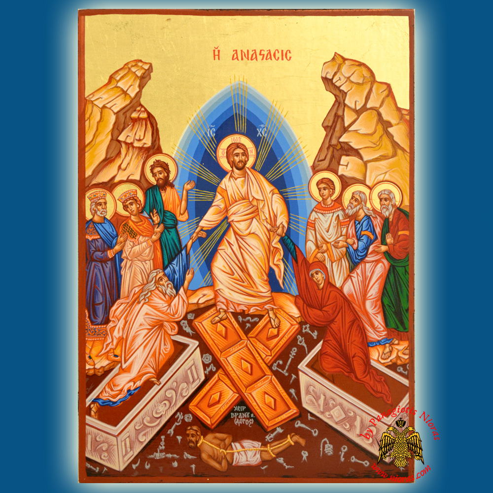 Christ The Resurrection Holy Wooden On Canvas Hand Made Icon 4240 Ana225