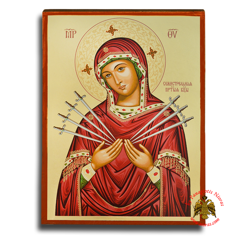 Holy Virgin Mary Panagia Seven Swords Byzantine Wooden Icon on Canvas