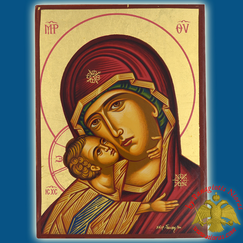 Holy Virgin Mary Panagia Sweet Kissing Detail Byzantine Wooden Icon on Canvas