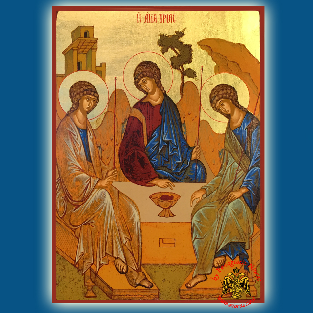 The Holy Trinity Andrei Rublev Old Testament Byzantine Wooden Icon on Canvas