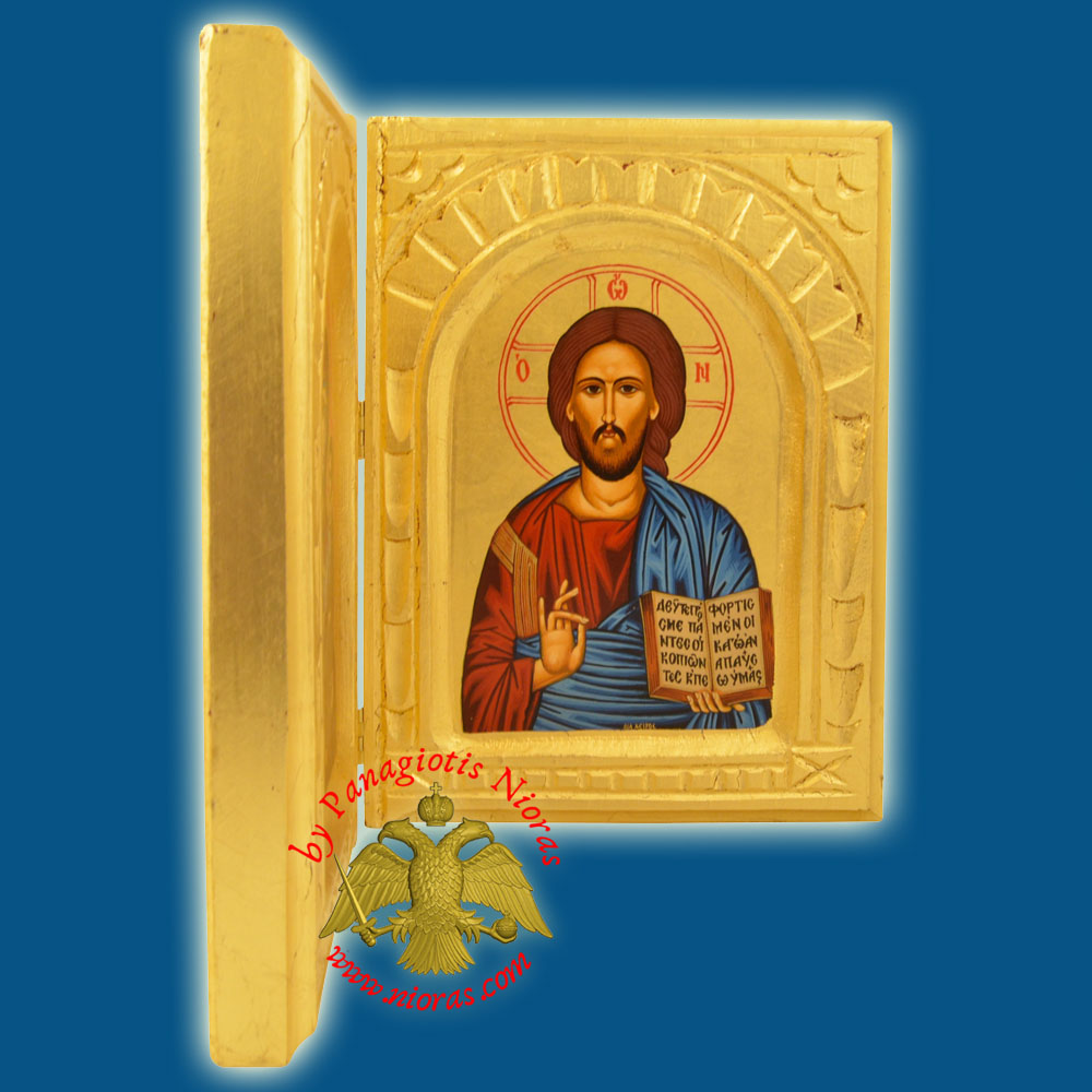 Orthodox Diptych with Canvas Holy Icons on Golden Wood 24x26cm