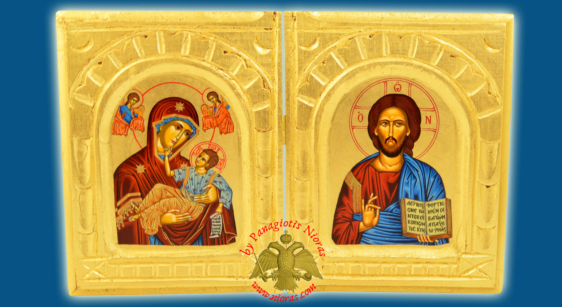 Orthodox Diptych with Canvas Holy Icons on Golden Wood 18x30cm