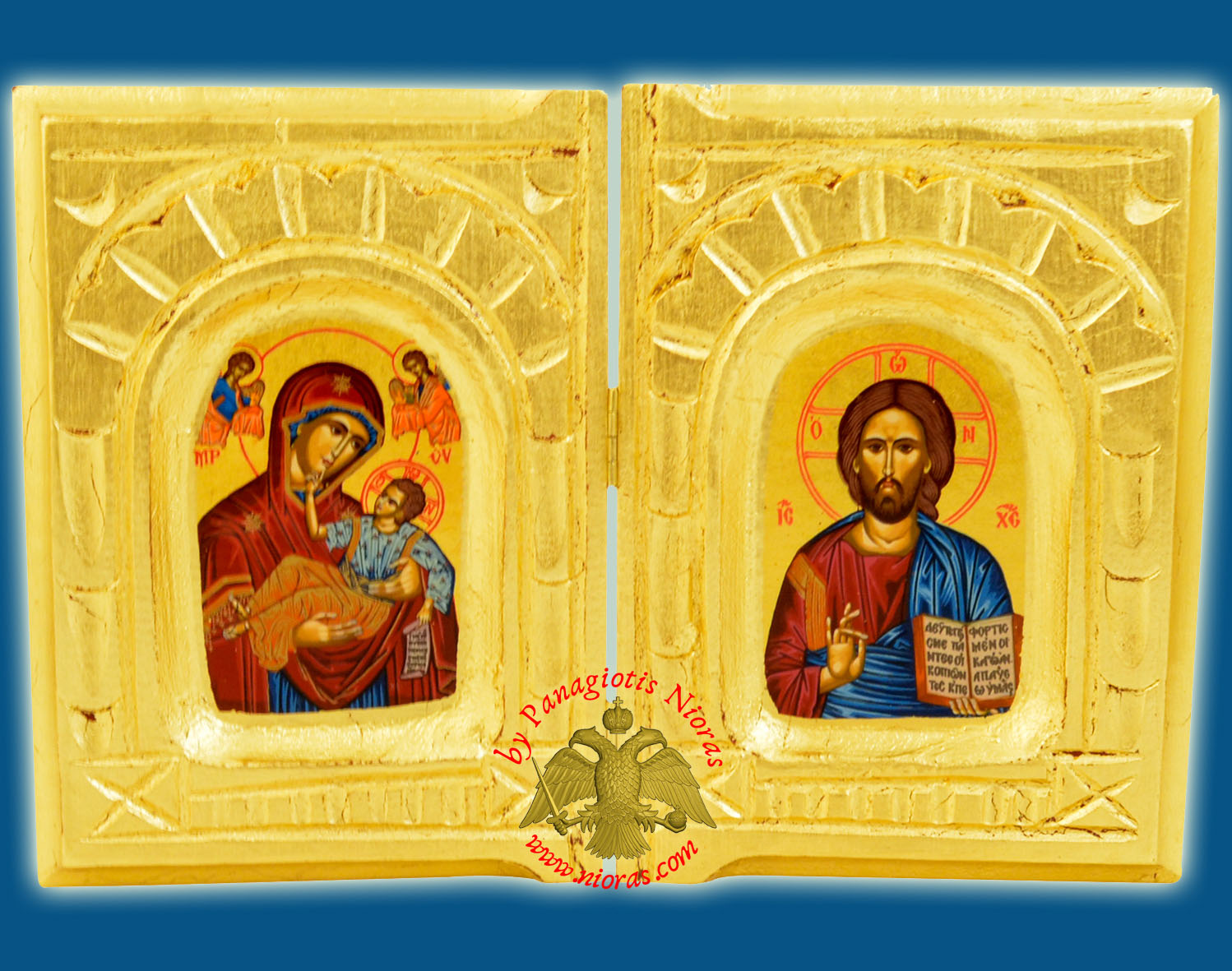 Orthodox Diptych with Canvas Holy Icons on Golden Wood 16x24cm