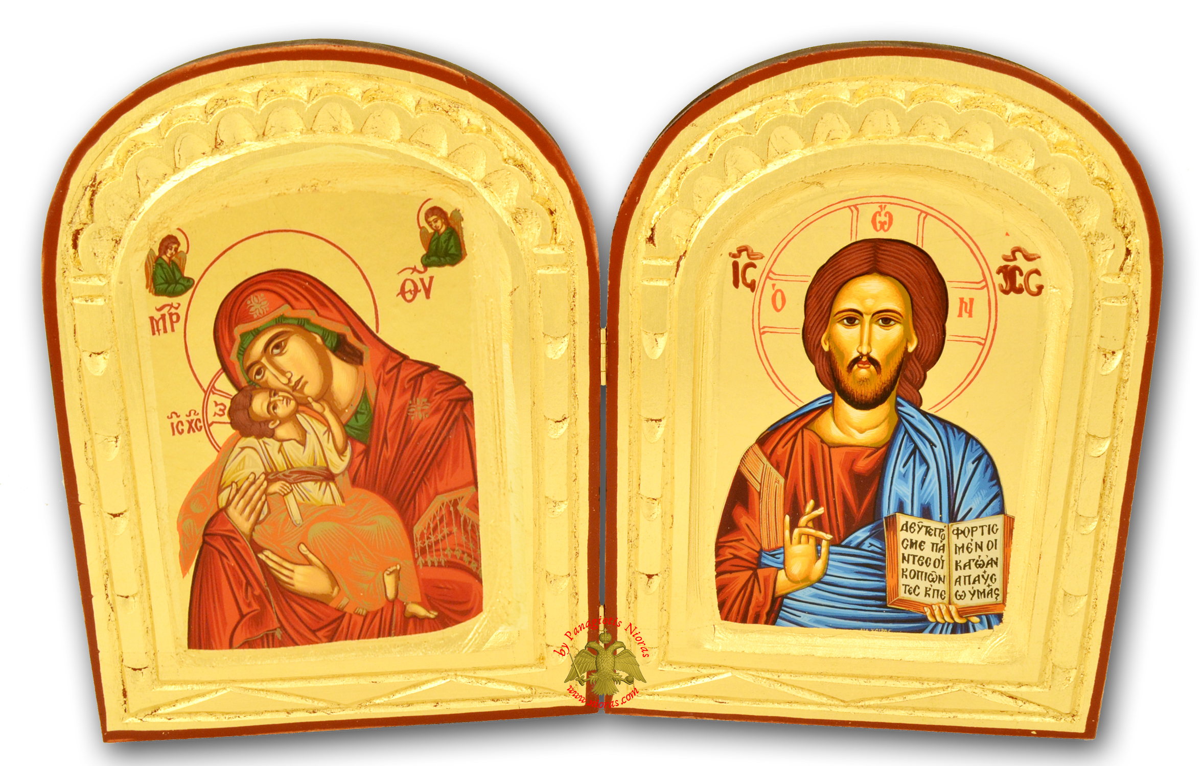 Orthodox Diptych Canvas Icon on Natural Wood 24x36cm