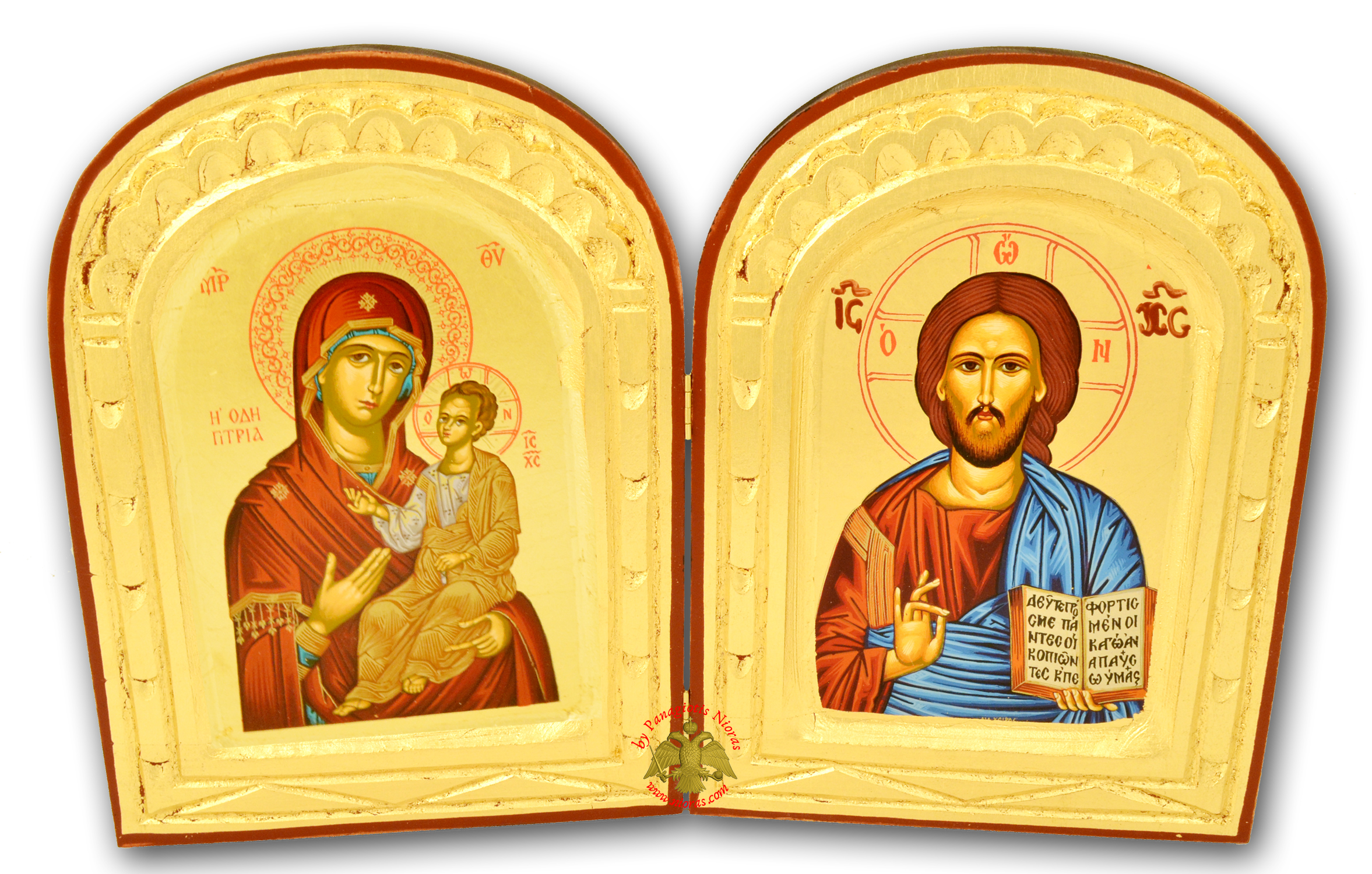 Orthodox Diptych Canvas Icon on Natural Wood 18x30cm
