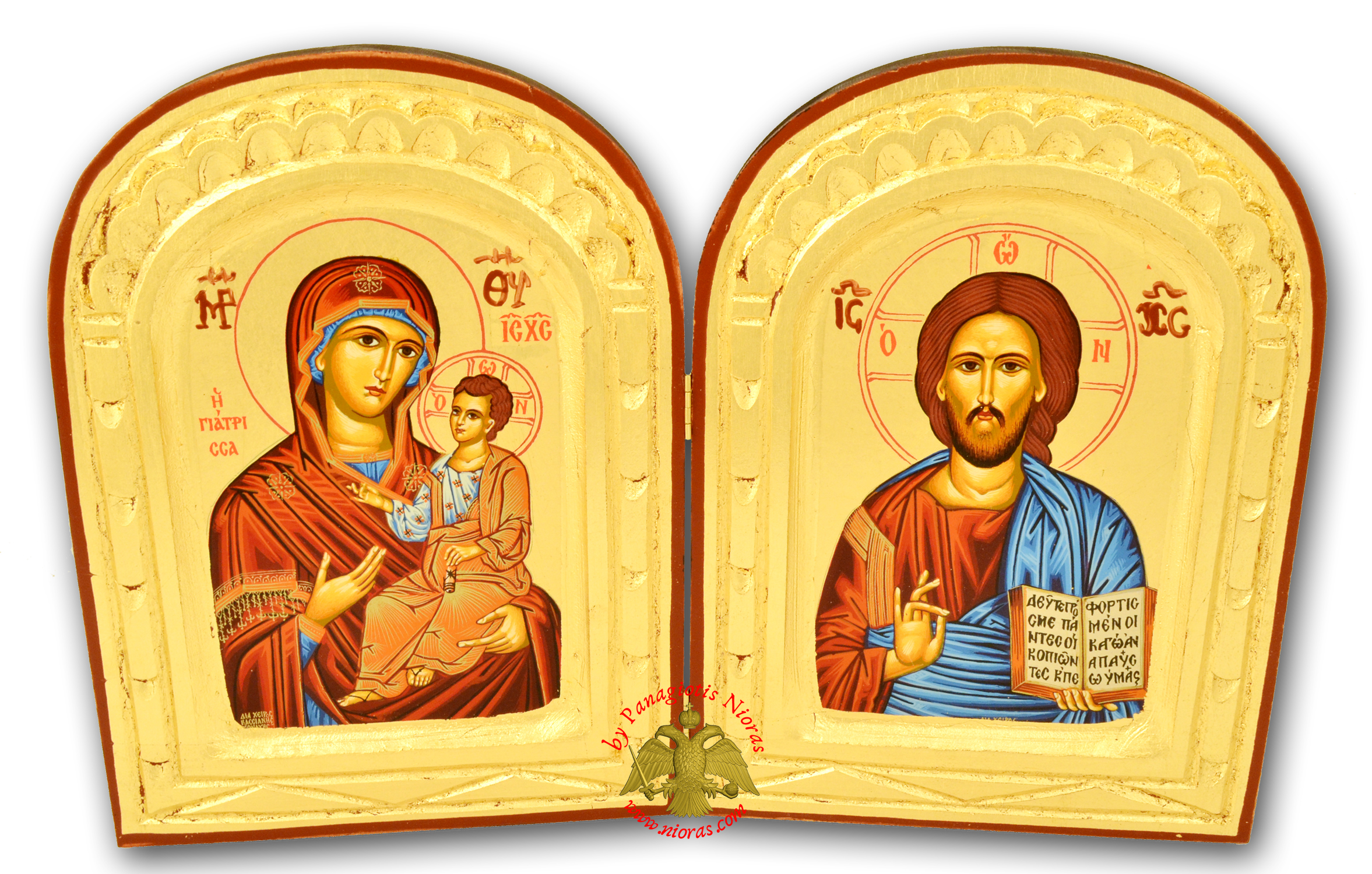 Orthodox Diptych Canvas Icon on Natural Wood 13x21cm