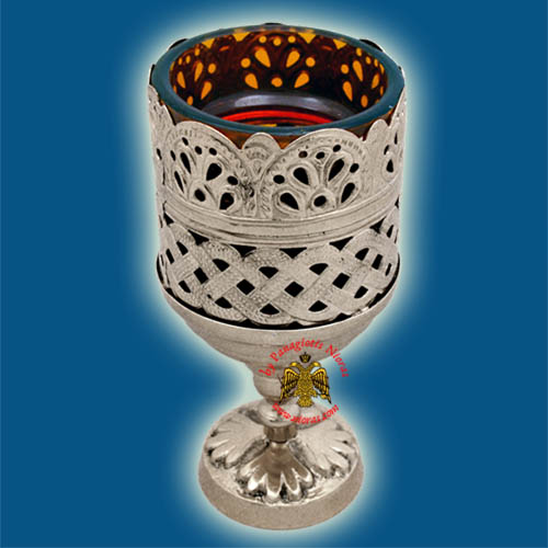 Orthodox Standing Vigil Oil Candle Lace Brass SP