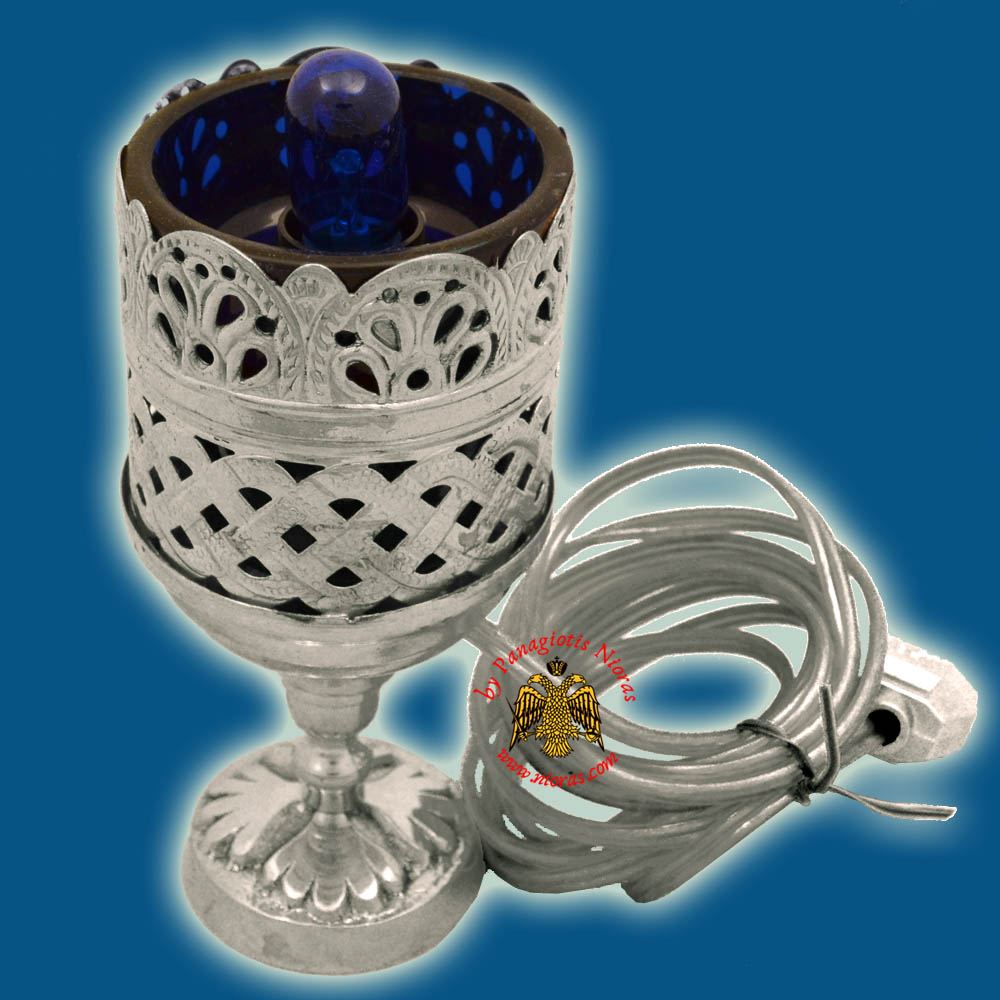 Orthodox Standing Vigil Oil Candle Lace Electric Brass SP