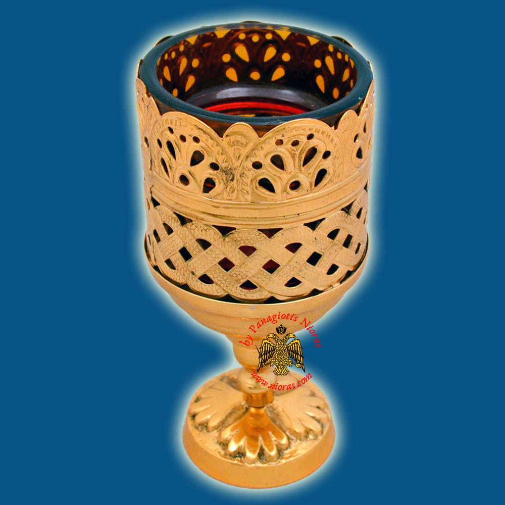 Orthodox Standing Vigil Oil Candle Lace Brass