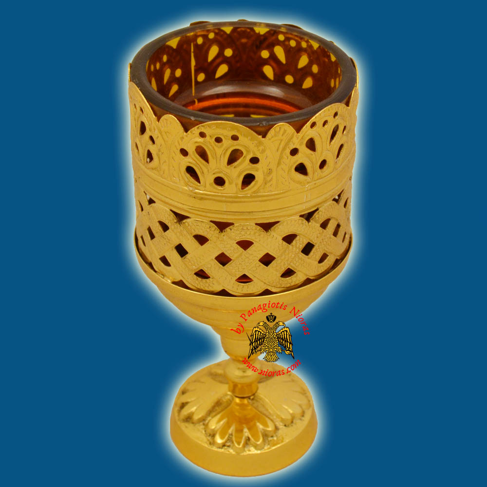 Orthodox Standing Vigil Oil Candle Lace Brass GP