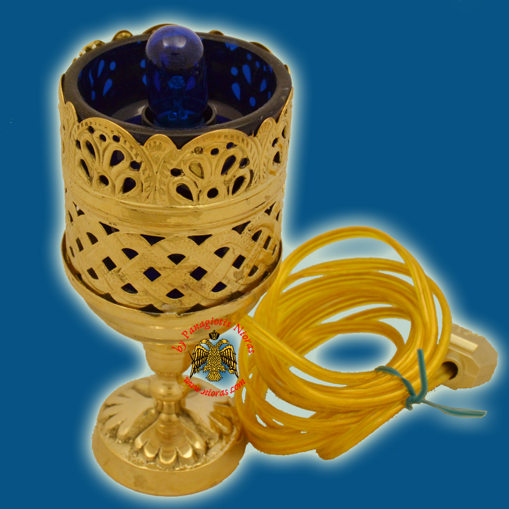 Orthodox Standing Vigil Oil Candle Lace Electric Brass GP