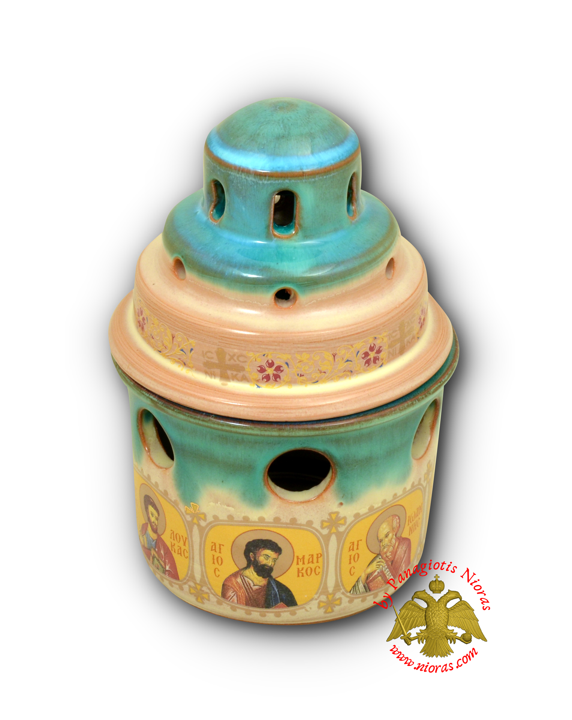Porcelain Vigil Oil Candle Small Ark Design Turquoise with Holy Icons 10x14cm
