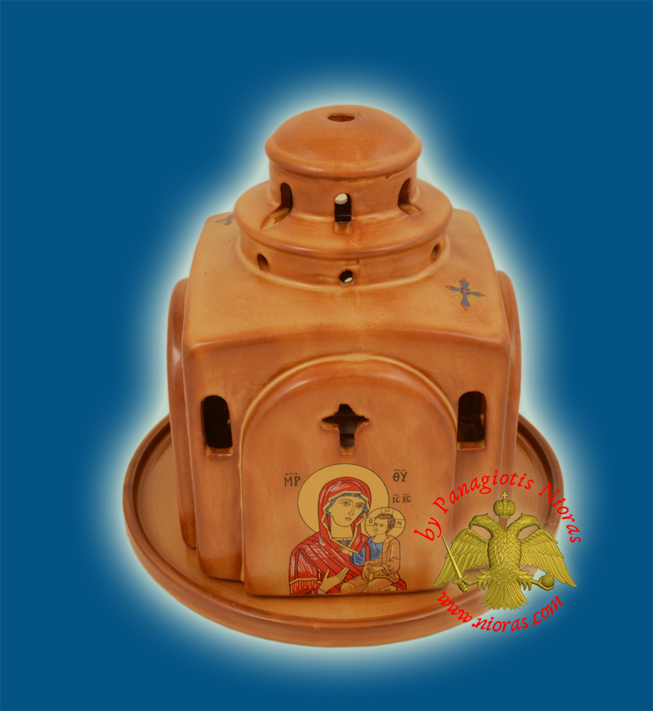 Ceramic Oil Candle Orthodox Church Metropolis Brown Color