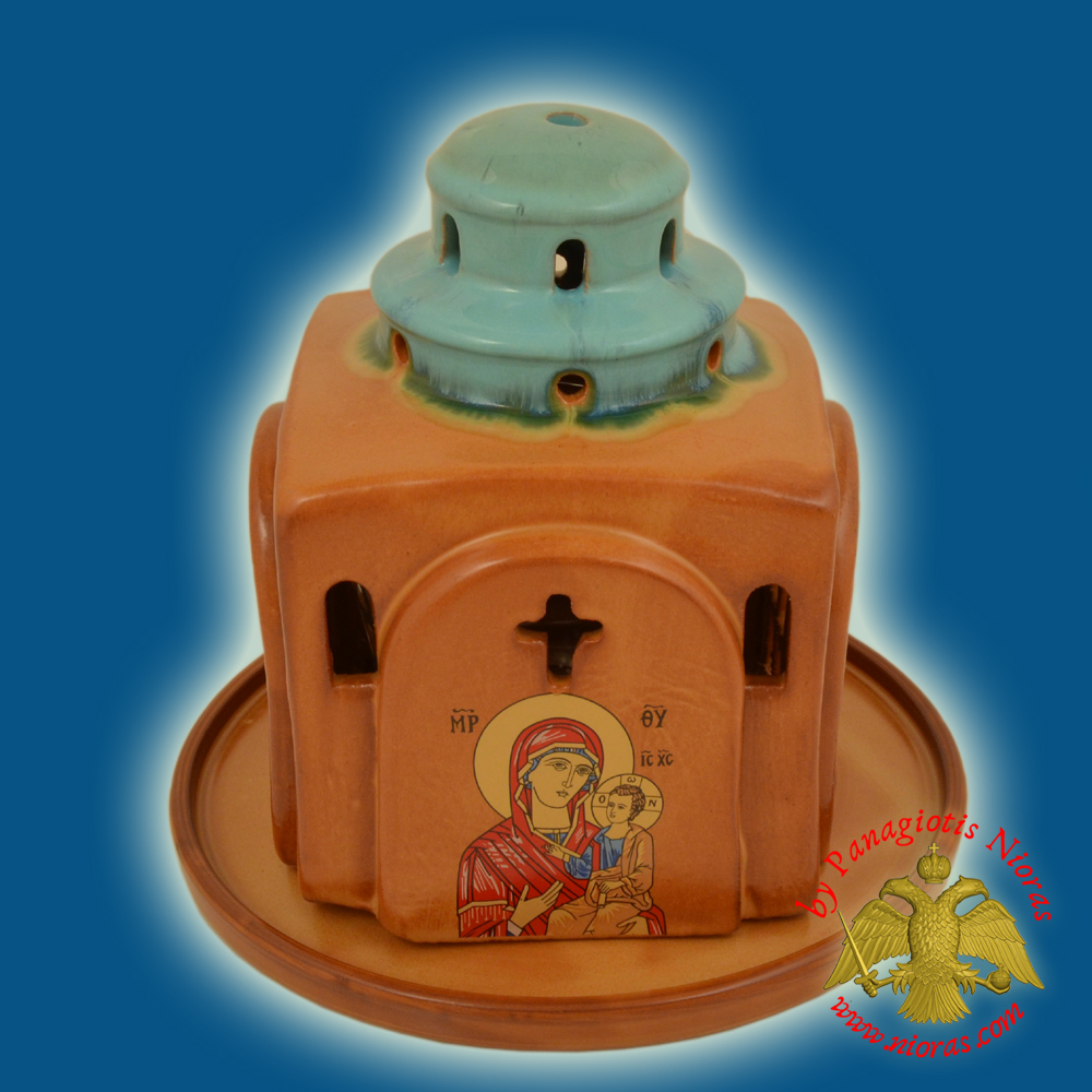 Ceramic Oil Candle Orthodox Church Metropolis Brown Tirquaz Double Color