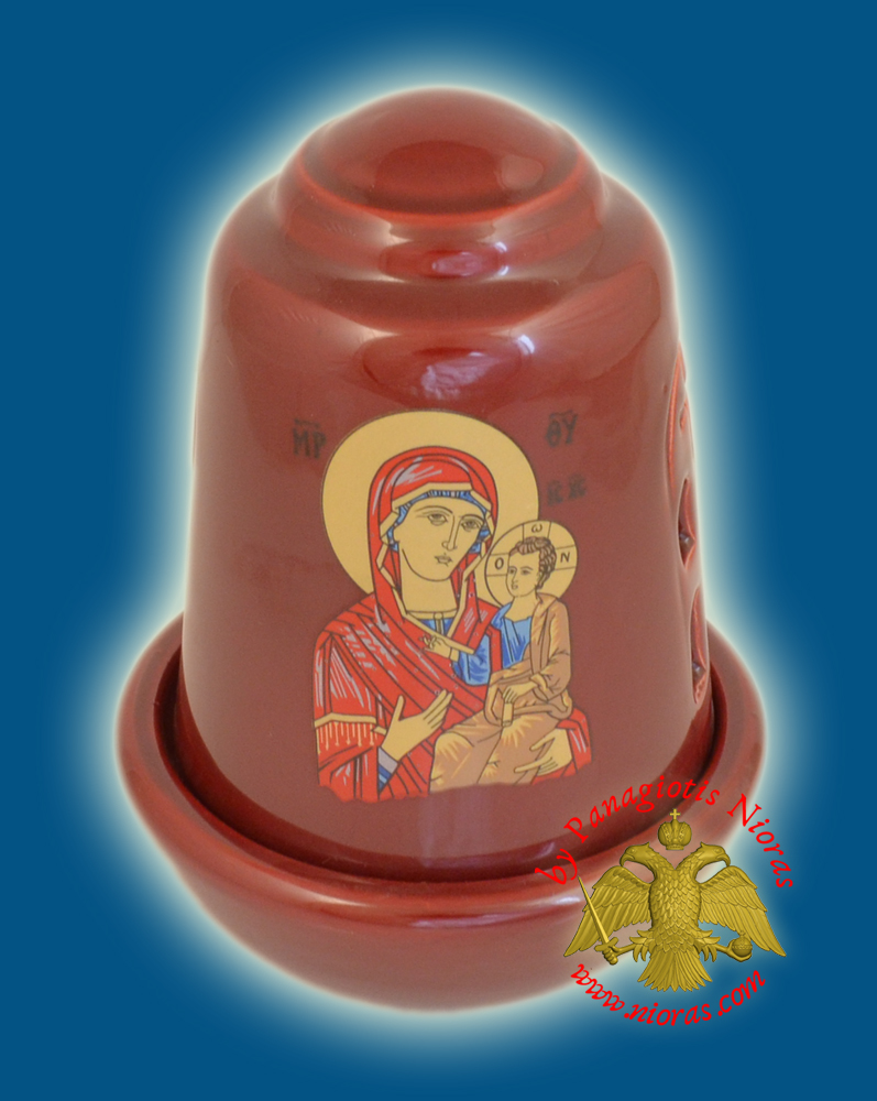 Ceramic Oil Candle Orthodox Dome Burgundy
