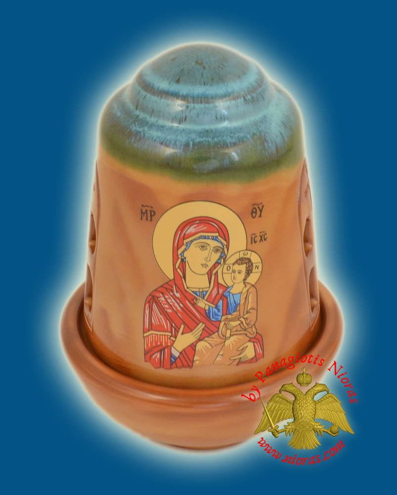Ceramic Oil Candle Orthodox Dome Tirquaz Brown