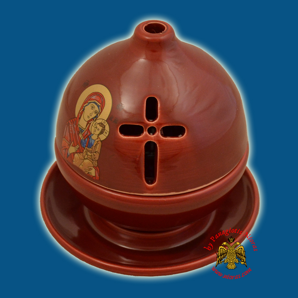 Ceramic Orthodox Theomitor with Plate Oil Candle Burqundy