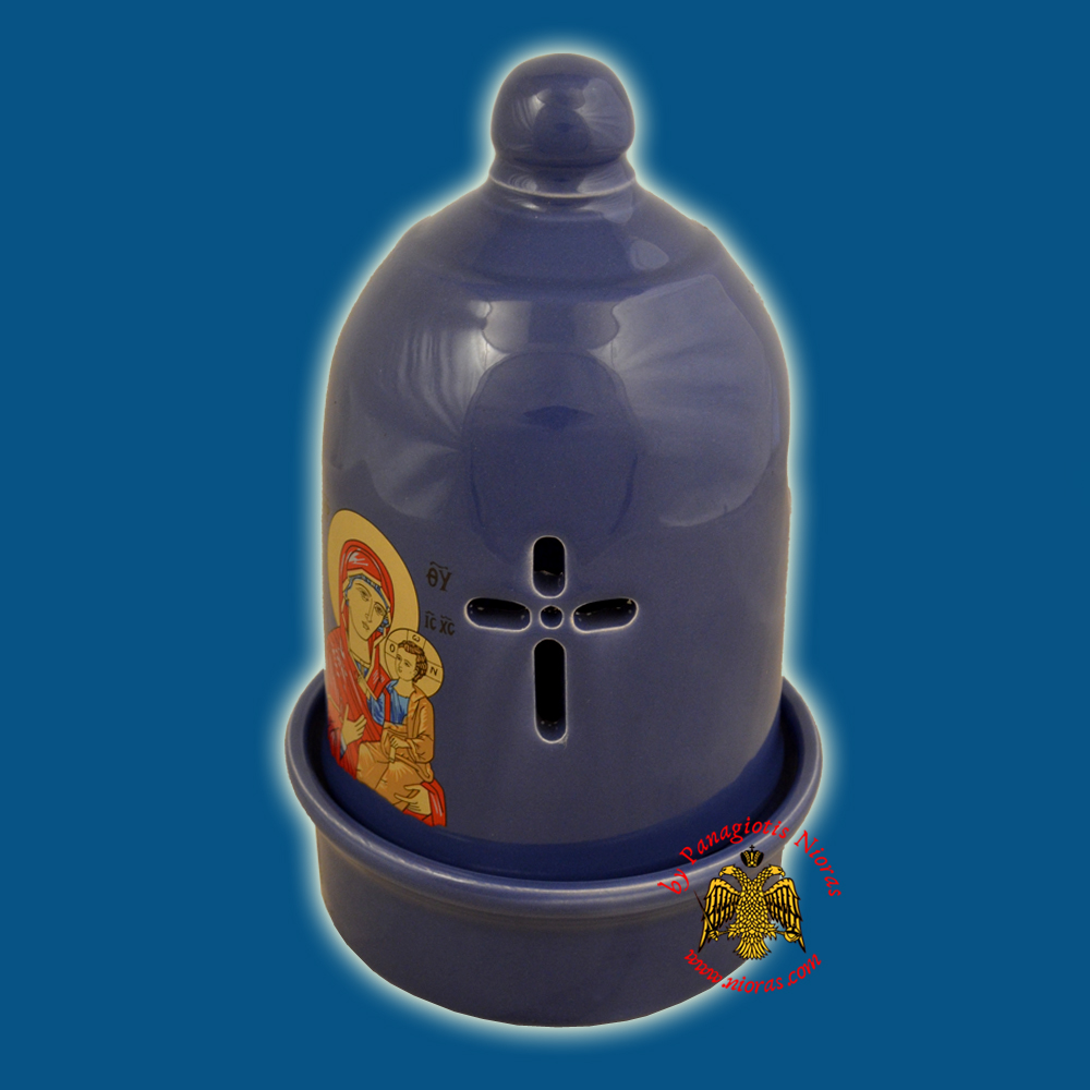 Ceramic Orthodox Traditional Dome Oil Candle Blue