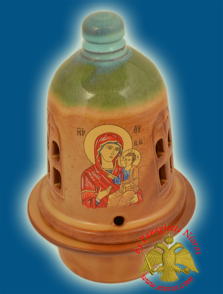 Ceramic Orthodox Traditional Theomitor Dome Oil Candle Tirquaz Brown