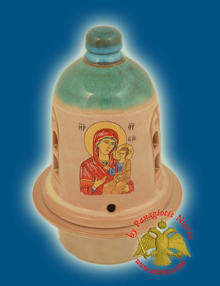Ceramic Orthodox Traditional Theomitor Dome Oil Candle Tirquaz Cream