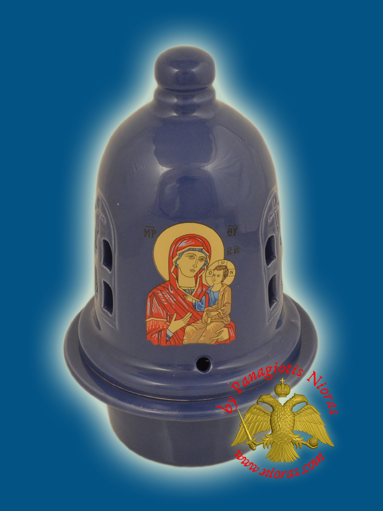 Ceramic Orthodox Traditional Theomitor Dome Oil Candle Blue